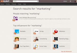 Klout screenshot, content quality, content writing