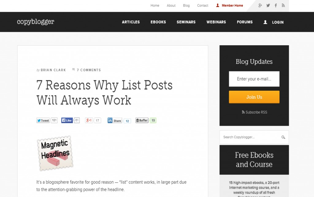 small business blog content, how to write content for small business blogs, why lists posts always work, copyblogger
