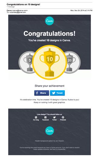Milestone emails